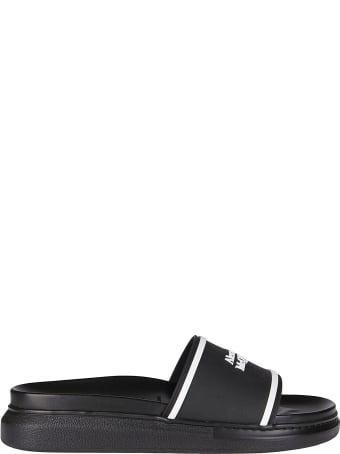 Alexander McQueen Black Rubber Slides