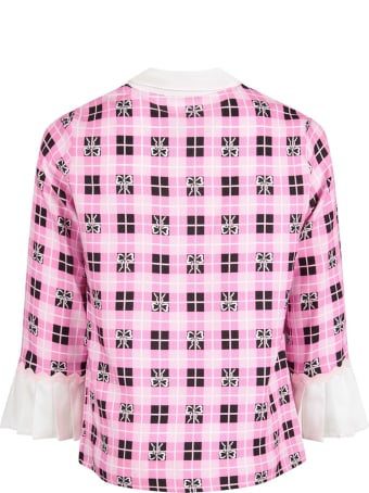 Vivetta Pink Shirt For Girl With White All-over Bows
