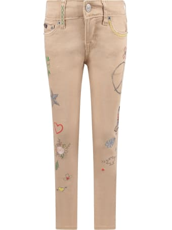 Ralph Lauren Beige Girl Jeans With  Colorful Prints And Writing