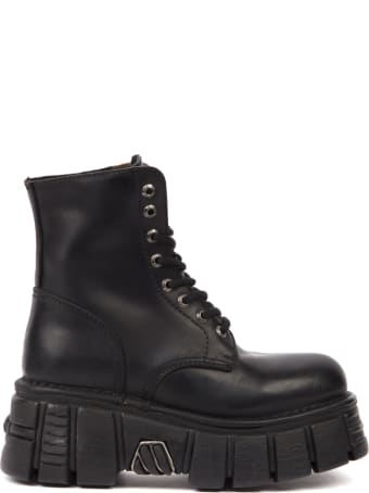 New Rock Black Leather Biker Boots