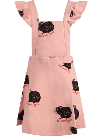 Mini Rodini Pink Girl Overall With Black Guinea Pigs