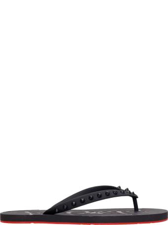 Christian Louboutin Loubi Flats In Black Rubber/plasic