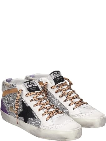 Golden Goose Mid Star Sneakers In Silver Tech/synthetic
