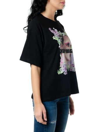 Frankie Morello Black Cotton T Shirt With Multicolor  Print
