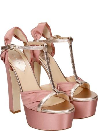 Elie Saab Sandals In Rose-pink Satin