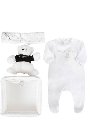 Givenchy White Set For Babykids With Bear
