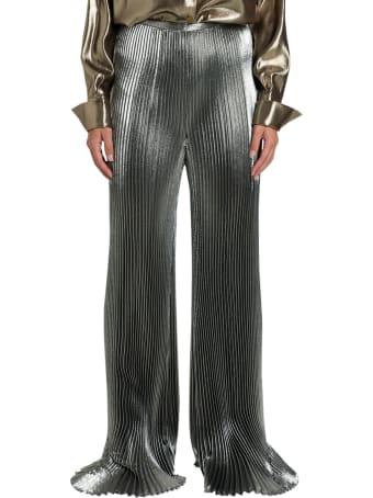 Alberta Ferretti Pleated Pants In Silver Lamé