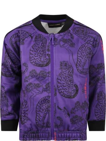 Mini Rodini Purple Sweatshirt For Kids With Tigers