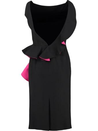 Alexander McQueen Two-tone Ruffle Sheath Dress