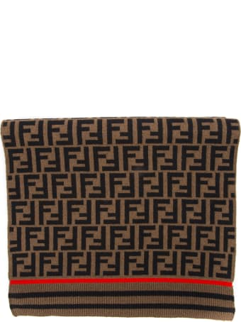 Fendi Brown Wool And Cashmere Scarf With Logo
