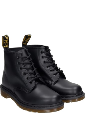 Dr. Martens 101 Combat Boots In Black Leather