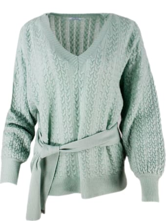 Malo Long-sleeved V-neck Sweater With Braids And Belt