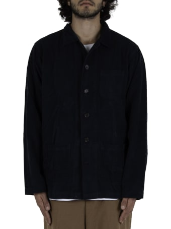 Universal Works Bakers Overshirt In Fine Cord - Navy