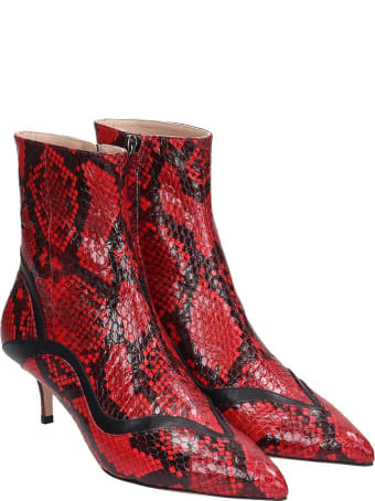 Paula Cademartori High Heels Ankle Boots In Red Leather