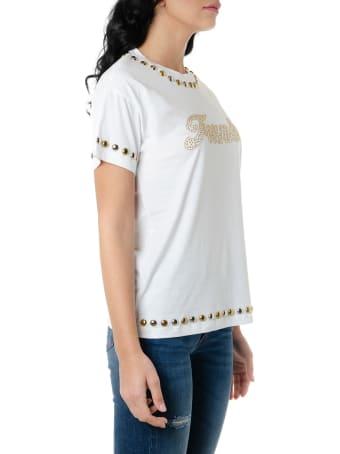 Frankie Morello White Cotton T Shirt With Studs