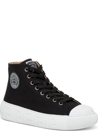 Versace Greca Sneakers In Black Canvas With Logo