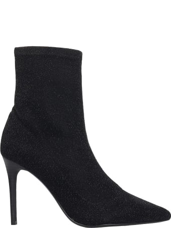 Kendall + Kylie Millie High Heels Ankle Boots In Black Glitter