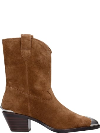 Ash Famous 05 Texan Ankle Boots In Brown Suede
