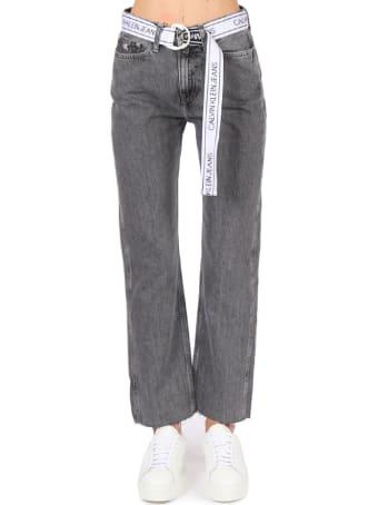 Calvin Klein Jeans Grey High Waist Cotton Jeans With Logo Belt