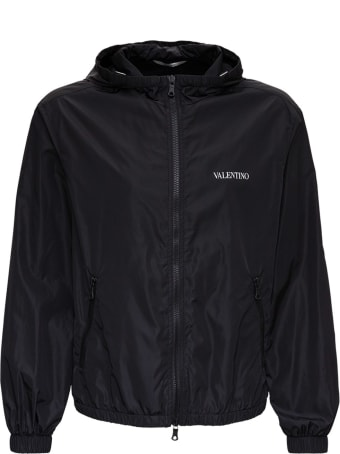 Valentino Windbreaker In Black Nylon With Logo