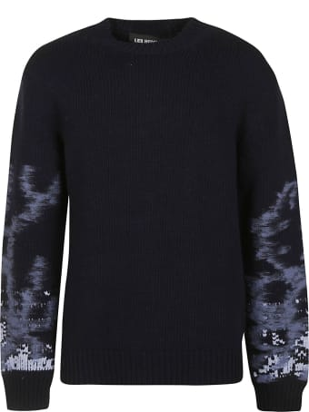 Les Hommes Needle Sleeved Round Neck Sweater