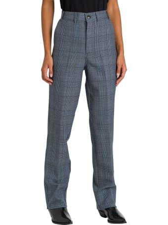 Ganni Suiting Pantalone Vita Alta A Scacchi