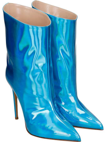 Alexandre Vauthier High Heels Ankle Boots In Cyan Leather