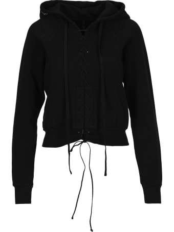 Ben Taverniti Unravel Project Unravel Lace-up Cropped Hoodie