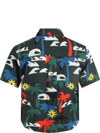 Stella McCartney Kids Green Shirt For Boy With Palms