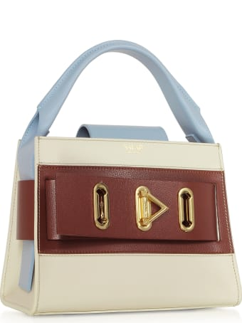 Salar Ludo Multicolor Ivory Brown & Light Blue Leather Top Handle Bag