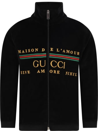 Gucci Black Sweatshirt For Kids With Logo