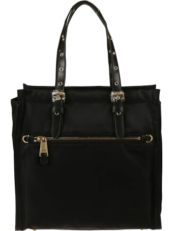 Moschino Perforated Top Handle Logo Plaque Tote