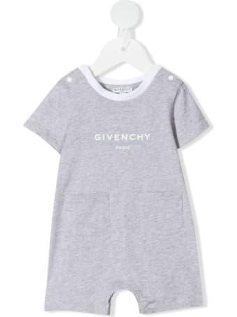 Givenchy Newborn Melange Grey Short Sleeve Romper With Logo And Pockets