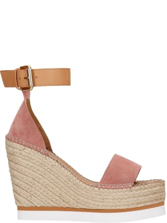 See by Chloé Wedges In Rose-pink Suede