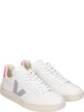 Veja V-12 Sneakers In White Leather