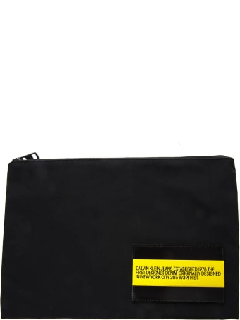 Calvin Klein Jeans Pouch In Black Technical Fabric With Logo