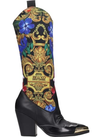 Versace Jeans Couture Texan Boots In Black Leather And Fabric