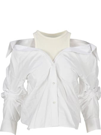 T by Alexander Wang Layered Off-the-shoulder Shirt