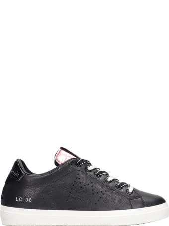 Leather Crown Sneakers In Black Leather