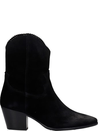 Pedro Miralles Cortina  Texan Ankle Boots In Black Suede