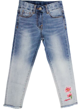 Monnalisa 5-pocket Trousers In Degradé Denim With Embroidery