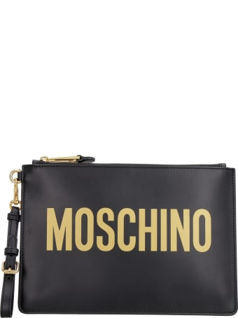 Moschino Logo Detail Flat Leather Pouch