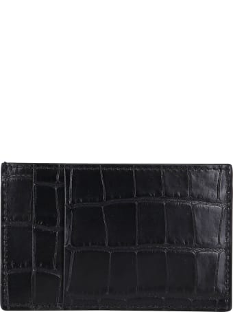 Alexander McQueen Black Leather Cardholder