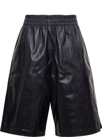 Bottega Veneta High Waisted Bermuda Shorts In Leather