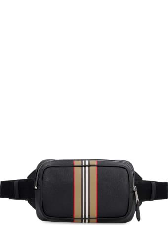 Burberry Stripe Motif Detail Leather Belt Bag