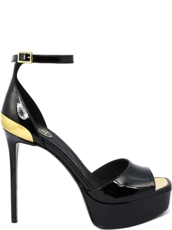 Balmain Black Calfskin Sandals