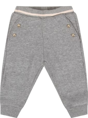 Chloé Grey Sweatpant With Logo For Baby Girl