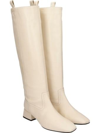 Fabio Rusconi Low Heels Boots In Beige Leather