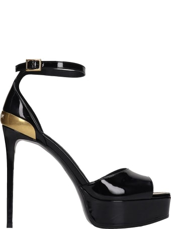 Balmain Pippa Sandals In Black Patent Leather