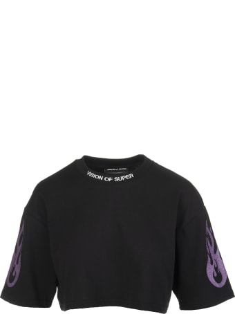 Vision of Super Black Cropped Woman T-shirt With Glitter Purple Flame